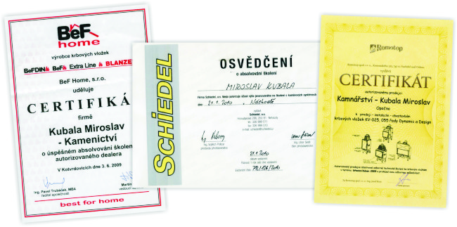 Certifikáty, osvědčení ...